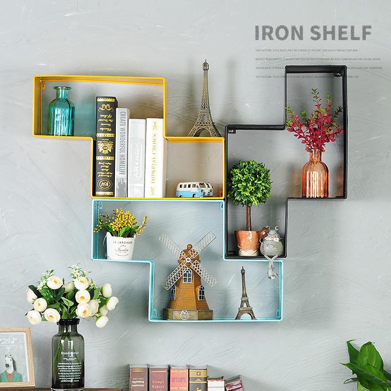 Wrought Iron Wall Debris Retro Storage Rack Book Holder Living Room Bar Decorations Geometric Shape Organizer Tool