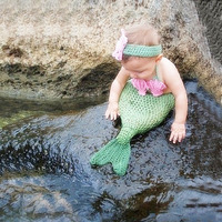 Baby Girl Mermaid Costume Newborn Photo Props Crochet Outfits Fish Tail Clothing Set A105 Flower Headband Green Girl's Romper