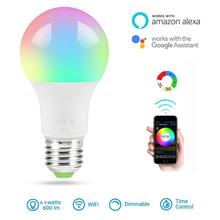 New E27 WiFi Smart Light Bulb Dimmable Multicolor Wake-Up Lights RGBWW LED Lamp Compatible with Alexa and Google Assistant BTZ1