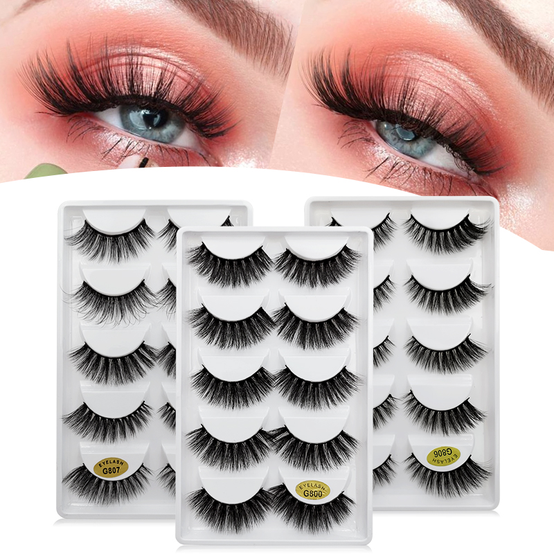 SHIDISHANGPIN 5 Pairs Mink Eyelashes False Eyelashes Natural False Lashes 3d Mink Lashes 3d Lashes Mink Faux Cils Cilios