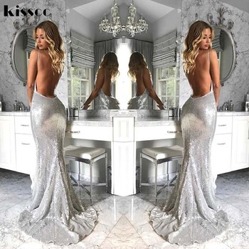 Vestido largo plateado