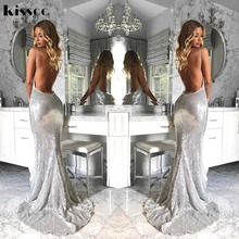 2017 Sexy Silver Sequined Open Back Padded Party Dress Stretch Floor Length Blue Sequins Bodycon V Neck Full Lining Club Dress