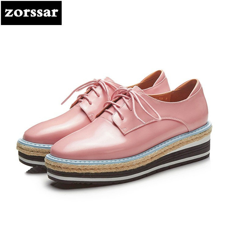 {Zorssar} 2018 New Fashion Patent leather women flat shoes casual Female sneakers shoes Lace up flats platform Creepers shoes instantarts casual women s flats shoes emoji face puzzle pattern ladies lace up sneakers female lightweight mess fashion flats