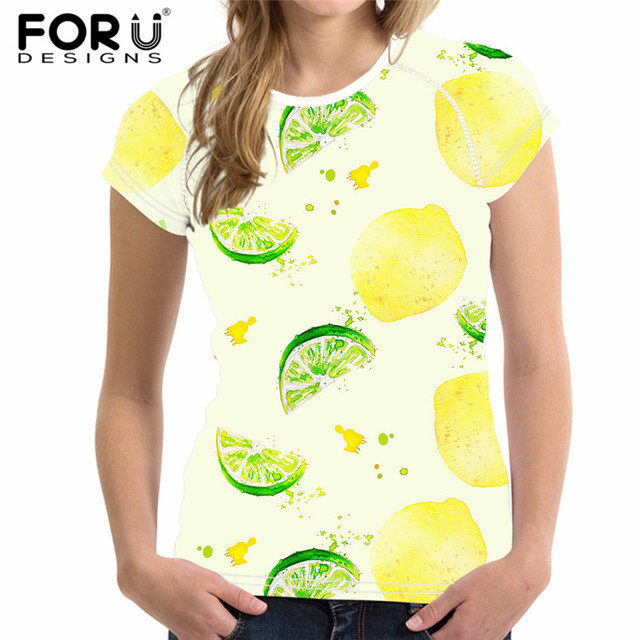 a66d648e1b5c FORUDESIGNS Fruit Lemon Print Short Sleeve Women T Shirt Brand Clothes  Summer Tops Tshirt for Girls Casual Round Neck t-shirt