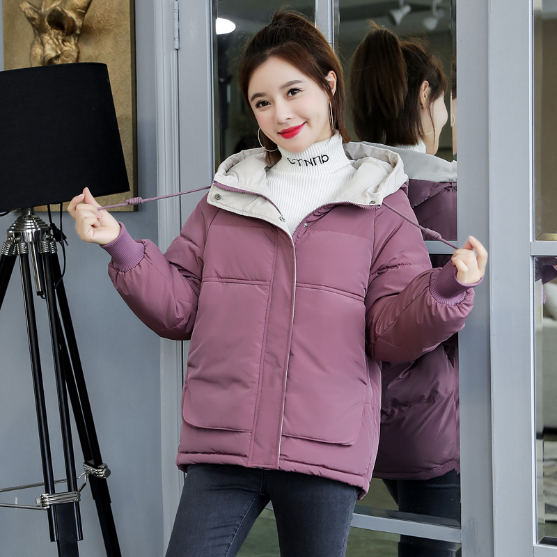 Women winter short   parkas   jacket 2019 New Thick warm hooded short jacket Casual solid sweet jackets for female