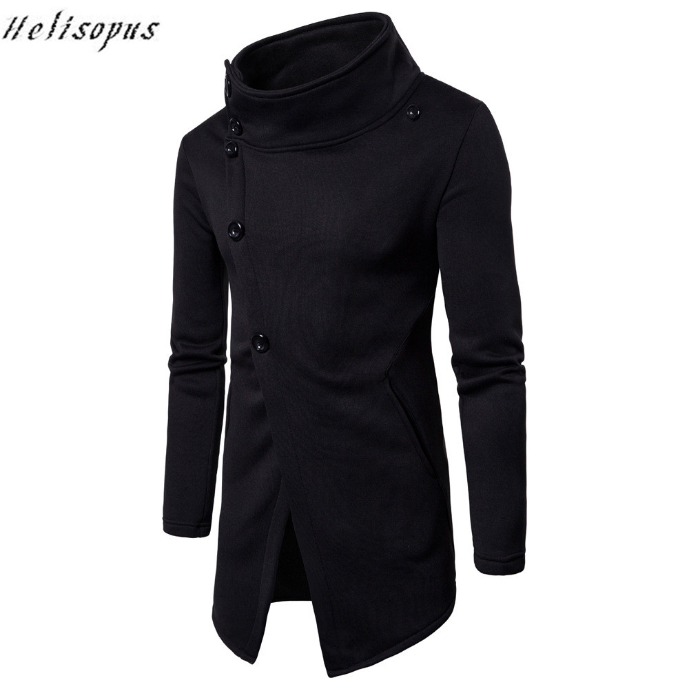 Helisopus Fashion Long Sleeve Side Slit Sweatshirts Mens Men Solid Hoodies Tracksuits 2020 Man Spring Top Clothing