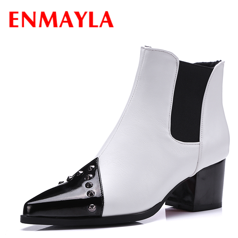 ENMAYLA 2018 Autumn Winter Mixed Colors Shoes Woman High Heels Pointed Toe Ankle Boots Women Rivets Chunky Heel Chelsea Boots enmayla autumn winter chelsea ankle boots for women faux suede square toe high heels shoes woman chunky heels boots khaki black