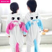 BOOCRE Unisex Children Kids Anime Animal Onesie Party Costume Flannel Pajamas Pink Blue Unicorn Cosplay All