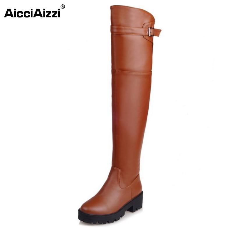 Woman Square Heel Round Toe Over Knee High Boots Women Platform Buckle Shoes Autumn Winter Ladies Brand Knight Botas Size 34-39 yougolun women nubuck thigh high boots ladies autumn winter boots woman over the knee boots women 2017 square high heels shoes