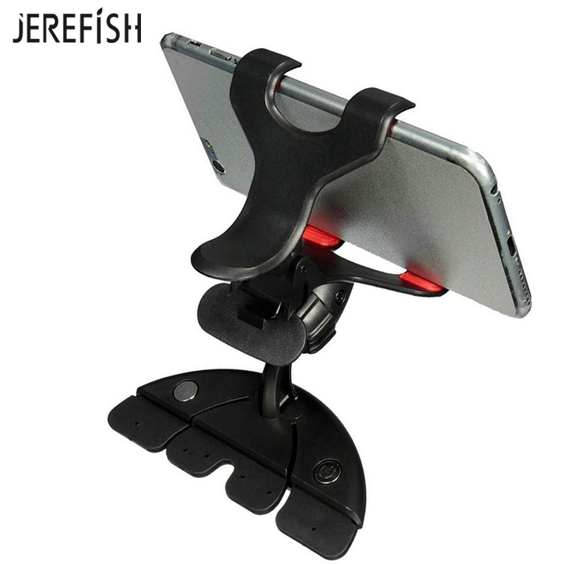 360 Rotating Adjustable CD Slot Car Phone Holder CD Player Cellphone Mount Stand for iPhone Samsung Bracket GPS Carrier image