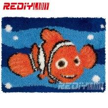Набор ковриков с защелкой, Золотая рыбка, Набор для вышивания, ковровая пряжа для вязания крючком, подушка, коврик для вышивания ковров