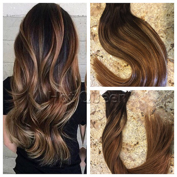 Hot Queen Ombre Balayage Highlights Honey Blonde Pu Tape In Hair