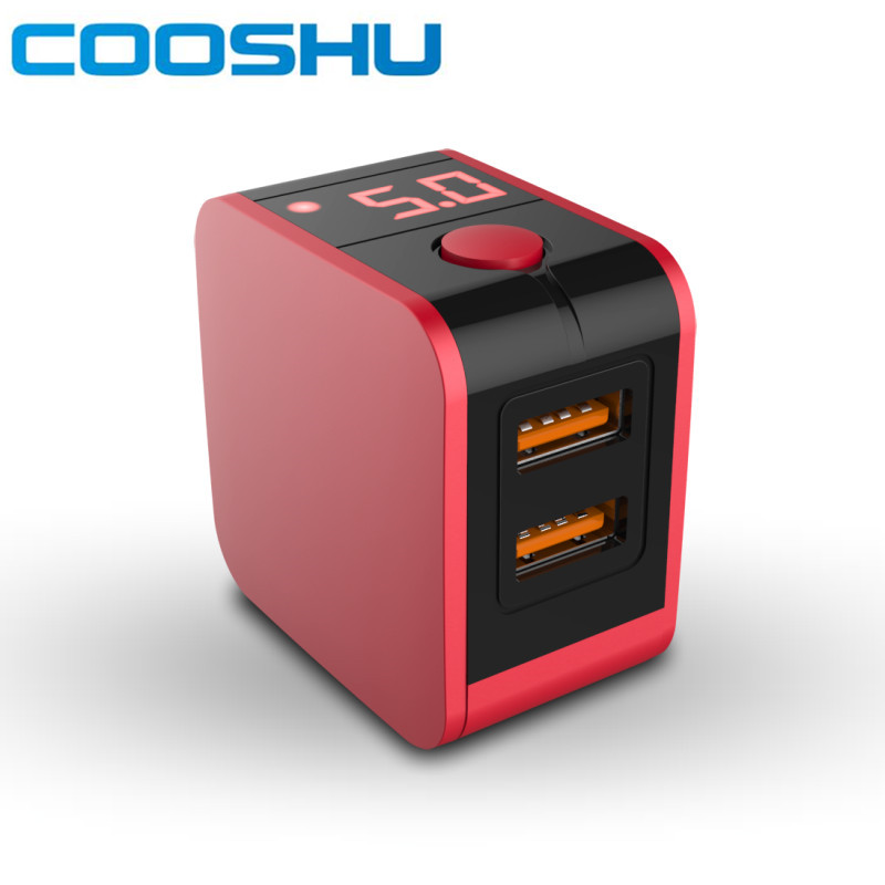 COOSHU 2 Port USB Phone Charger LED Display US Plug Max 2.4A Smart Fast Charging Mobile Wall Charger for iPhone iPad samsung