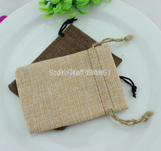 50pcs Lot Coffee Blank Linen Bags Fabric Wedding Favor Pouches
