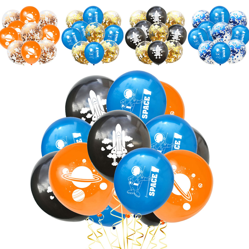 10 Pcs 12inch Space Astronaut Latex Balloons Confetti Balloon For Kids Birthday Party Decoration Theme