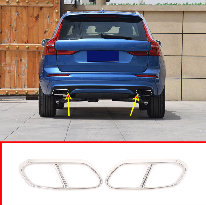 2Pcs Stainless Steel Pipe Throat Exhaust Muffler Outputs Tail Frame Cover Trim Accessories For <font><b>Volvo</b></font> <font><b>XC60</b></font> 2018 <font><b>2019</b></font> image