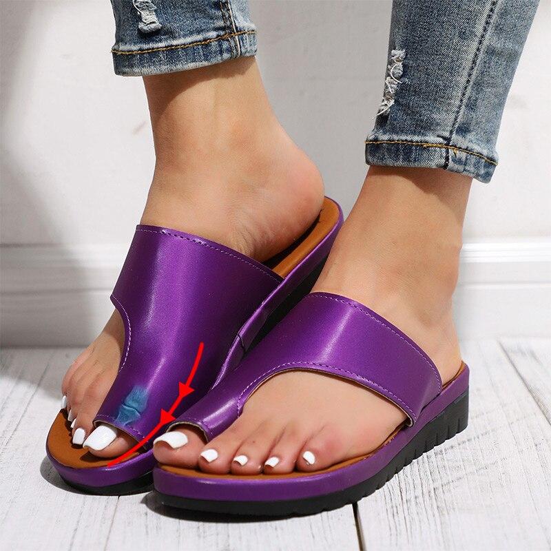 MCCKLE mujeres cómodos zapatos lisos plataforma plana señoras Casual Pie Grande corrección sandalias ortopédicas Bunion Corrector Flip Flop