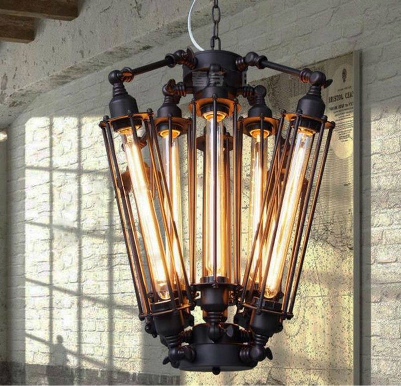 Vintage Pendant Light Industrial Edison Lamp American Metal Style Coffee Bar Restaurant Kitchen 8 Lights Art Deco Lamps art deco vintage industrial metal wire cage pendant light guard rustic ceiling mounted lamp cafe pub hotel porch bar