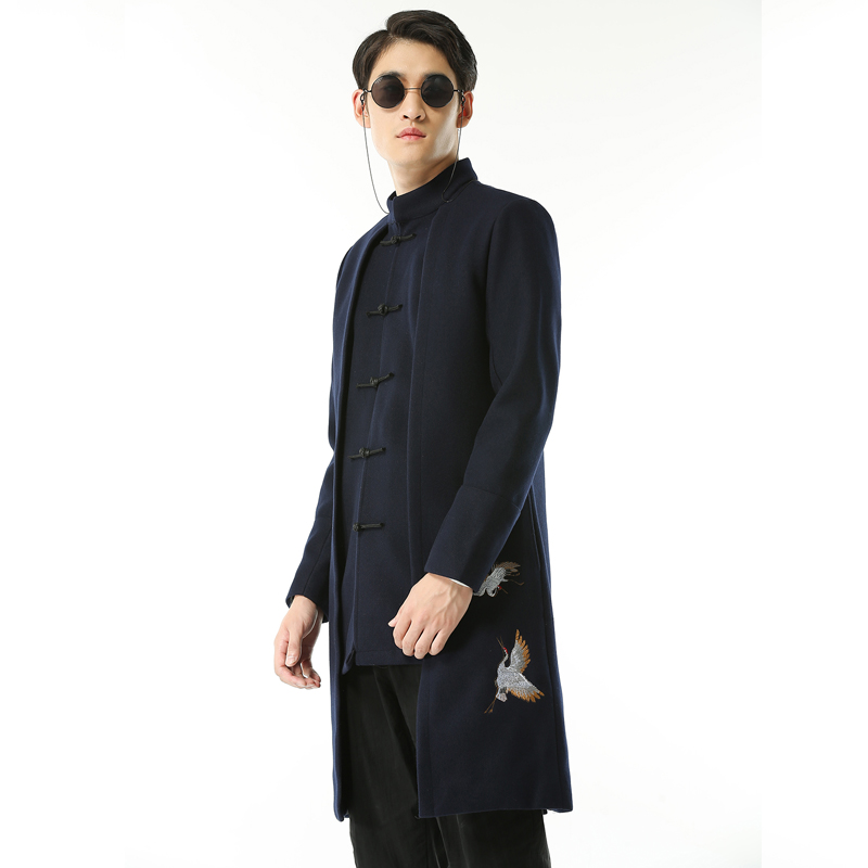 2019 Chinese Retro Style Mens Embroidered Coat Black Navy Blue Classic Youth Men Business Wedding Banquet Dress Jacket