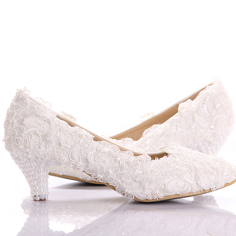 White Lace Low Heel Wedding Bridal Shoes Kitten Heel