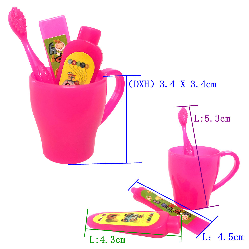 NK 4 Pcs/Set Doll Accessories Mini Toothpaste Kit = Toothbrush + Cleanser Cup Toothpaste For Barbie Doll Best Gift Necessary 2X image