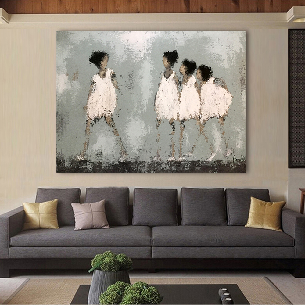 Graffiti art home decor - Hdartisan Modern Graffiti Art Wall Pictures For Living Room Four Playing Girl Painting Home Decor Printed
