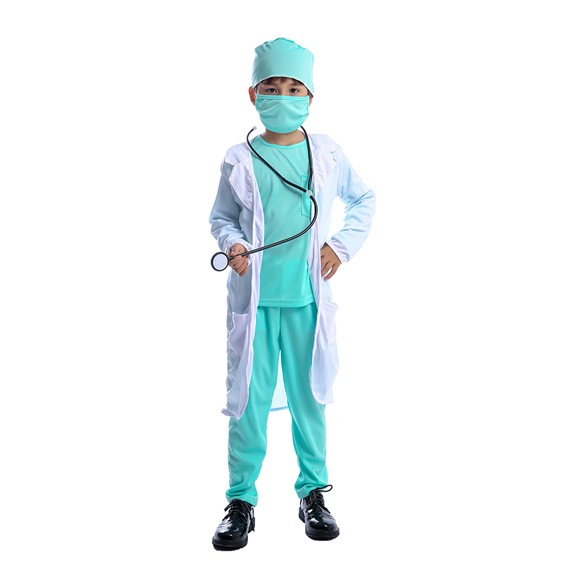 Hospital Doctor Kids Surgeon Dr Uniform Boys Child Career Halloween Cosplay Costume