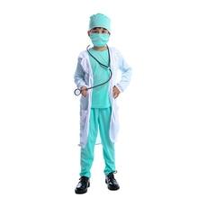 Médico do hospital crianças cirurgião dr uniforme meninos criança carreira halloween cosplay traje
