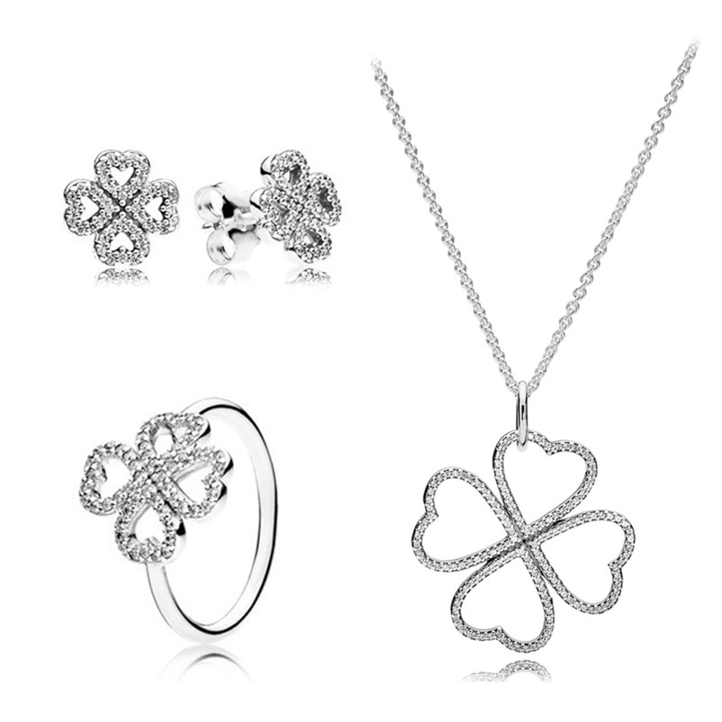 2019 NEW Fashion Personality 100% 925 Sterling Silver Original Clover Rings Suit Charms For Women DIY Gift Jewelry2019 NEW Fashion Personality 100% 925 Sterling Silver Original Clover Rings Suit Charms For Women DIY Gift Jewelry
