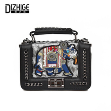 hot deal buy dizhige brand pu leathe bags for women fashion crossbody bags for teenage girl cartoon chain ladies appliques tote bags 2018 new