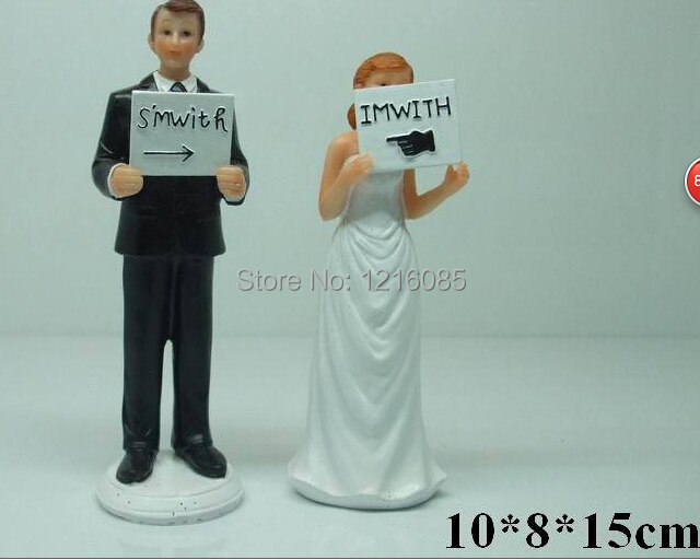 Cheap Wedding Cake Toppers Funny Bride Bridegroom Figurine Cake