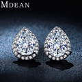 MDEAN White Gold Plated CZ diamond Jewelry fashion Earrings for women wedding Engagement Brincos Bijoux boucle d'oreille MSE051