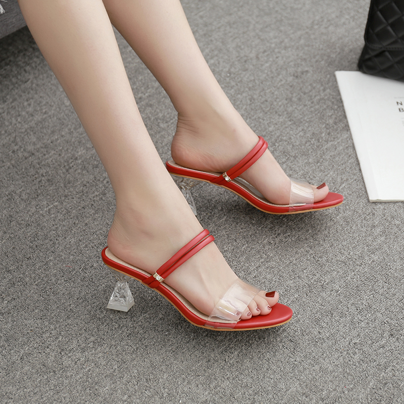 Transparent Sandals Women Shoes Clear Slippers Heeled Open-Toe White Mid Pu for Red Dress-Pump