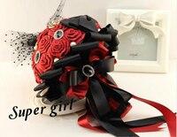 Wysokiej klasy Koreański niestandardowy temat ślubu narzeczona gospodarstwa kwiaty druhna bukiet wstążka rose pearl DIY wiertarka ręczna