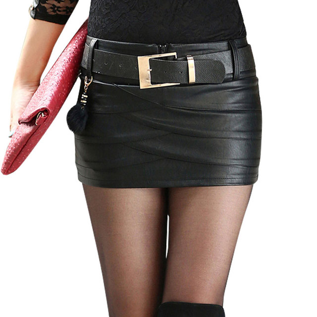 Women's Designer sexy Black PU leather skirts boot Leather Mini ...