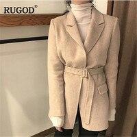 RUGOD 2019 Winter Autumn Wool Jacket Coat Women Fashion Korean Belted Thick Woolen Coat Blazer Jacket Female Thick Coat Befree