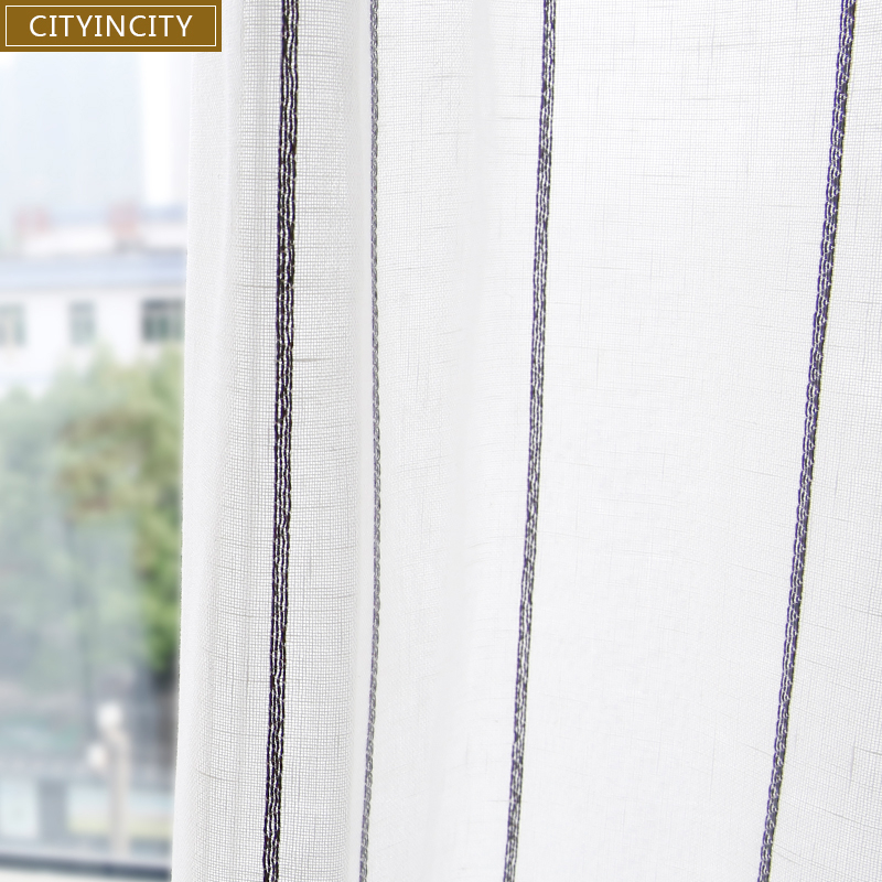 CITYINCITY Tulle Curtains for livingroom Jacquard Weave Soft Voile Fresh Stripe Kitchen Curtain bedroom Customized