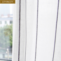 CITYINCITY Tulle Curtains for livingroom Jacquard Weave Soft Voile Fresh Stripe Tulle Kitchen Curtain for bedroom Customized|Curtains| |  -