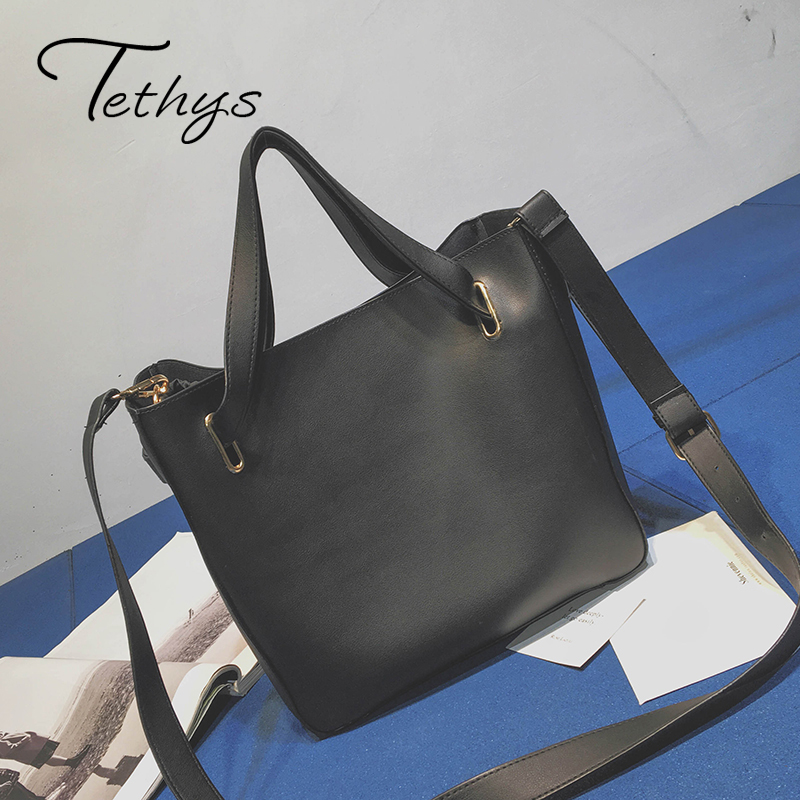 Women Shoulder Bags Female Pu Leather Handbag Bucket  Solid Large Capacity Tote Handbag Black Big High Quality Women Fashion
