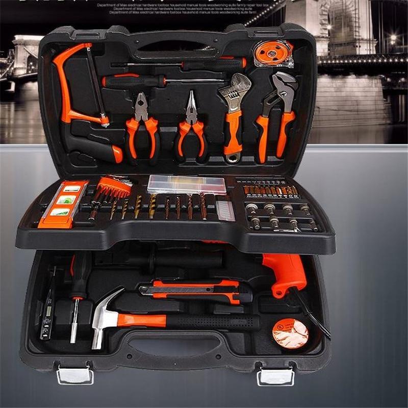 138 PCS daugiafunkcinis įrankių komplektas, namų apyvokos dirbinių rinkinys, pagamintas iš metalo, pasidaryk pats, pasidaryk pats, įskaitant gręžimo rinkinius, elektrinius įrankius