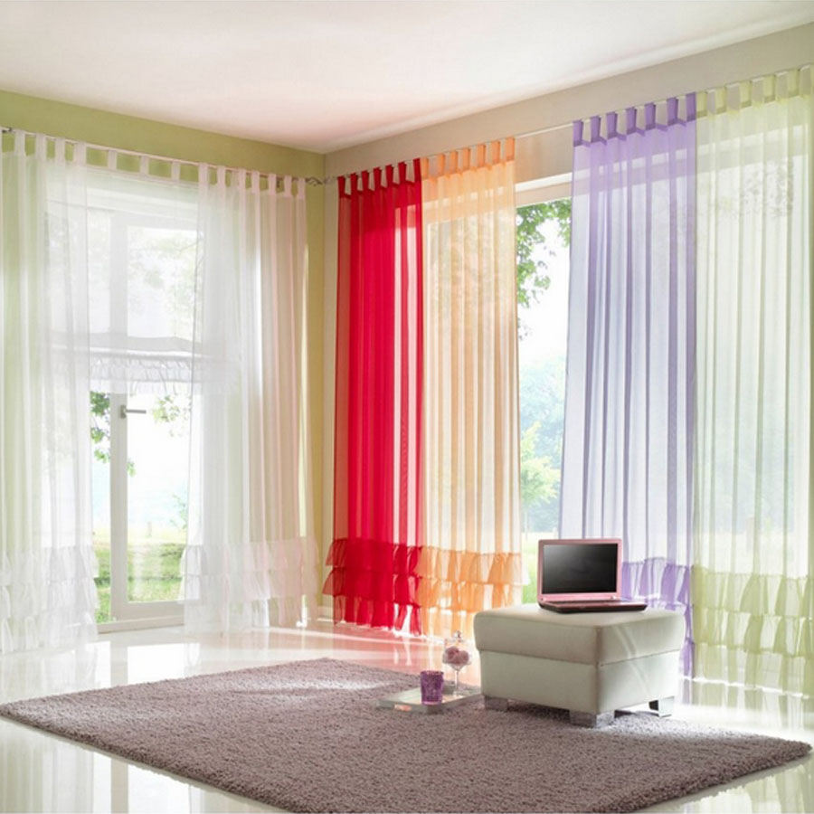 Ruffled Voile Colored Sheer Made To Order For Living Room
