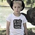 Ins * 2016 унисекс мальчиков девушки хлопка футболки письмо печатные дети лето коротким рукавом ткань 1-6Y мода бесплатная доставка