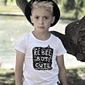 Ins * 2016 unisex del bebé niños niñas camisetas de algodón impresa letra kids summer corto manga del paño superior 1-6Y moda envío gratis