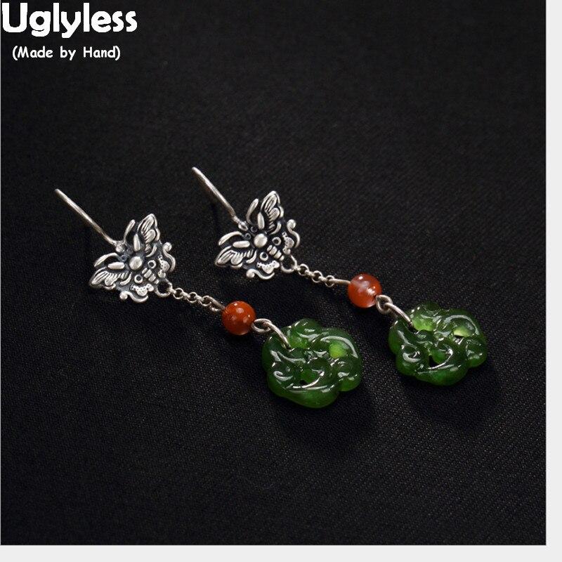 Uglyless Real 925 Sterling Silver Natural Jasper Floral Earrings Women Handmade Butterflies Brincos Bijoux Ethnic Retro