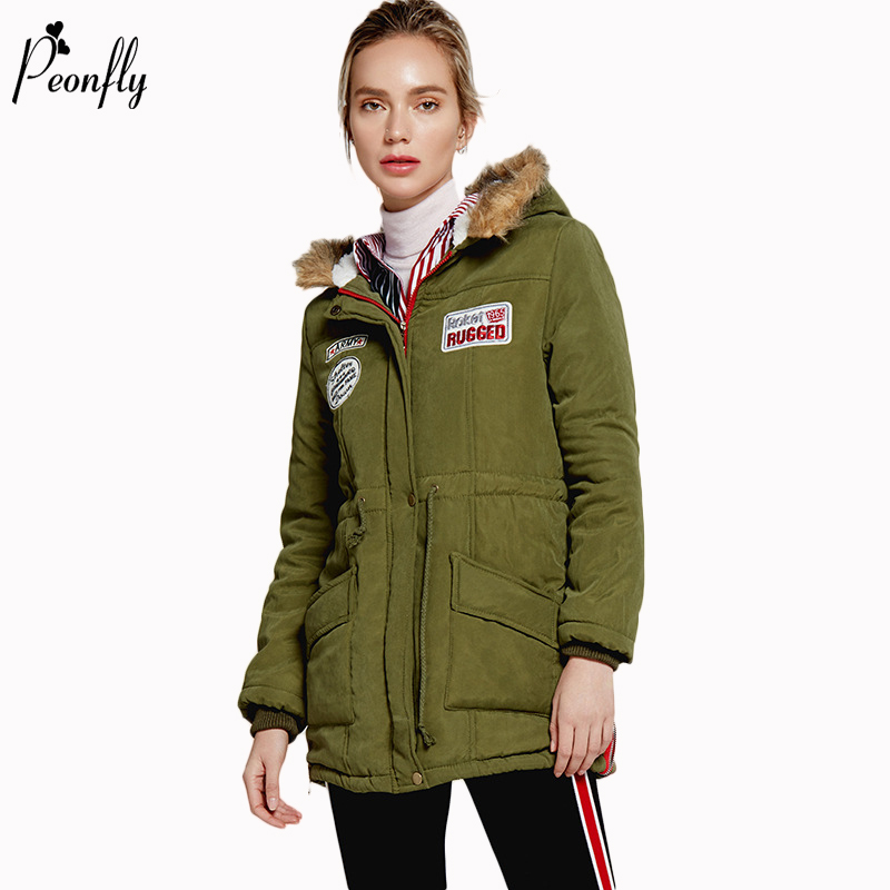 PEONFLY Winter Fashion New   Parka   Women Casual Outwear Military Hooded Thickening Cotton Padded Clothes Warm Jacket Fur Coat