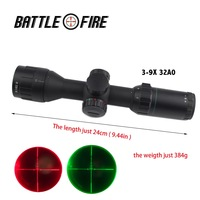 3 9x32 AO ultra short Compact Rifle Scope Collimator sight Red and Green Illuminated Reticle Angled Integral Riflescopes