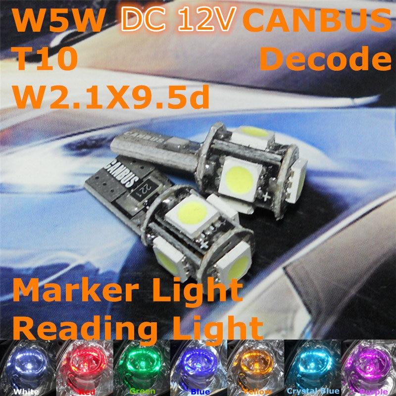 12V CANBUS Decode LED automobilová žárovka 1pair T10 (5 * 5050 SMD) W5W W2.1X9.5d pro světlou šířku parkovacího světla