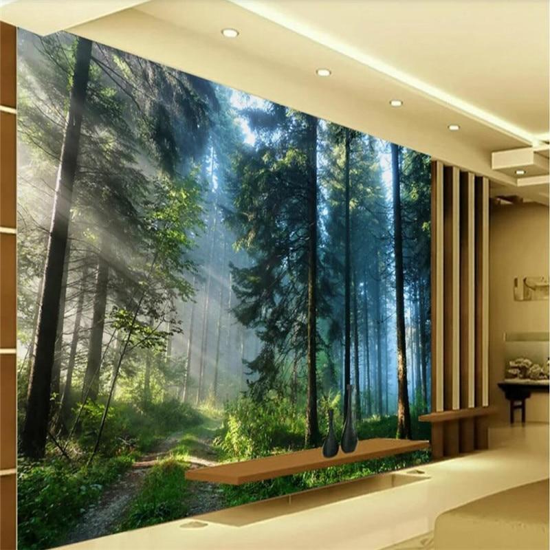 Personalizado 3d papel de parede do fundo da parede da paisagem da floresta-grande high-grade pano de parede fabricantes atacado