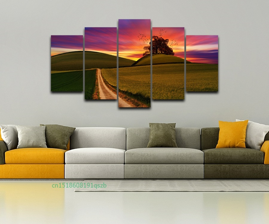 5 Piece Modern (No Frame) Canvas Oil Painting Art Pintura Between Sunset Field Wall Pictures For Living Room Cuadros Decoracion