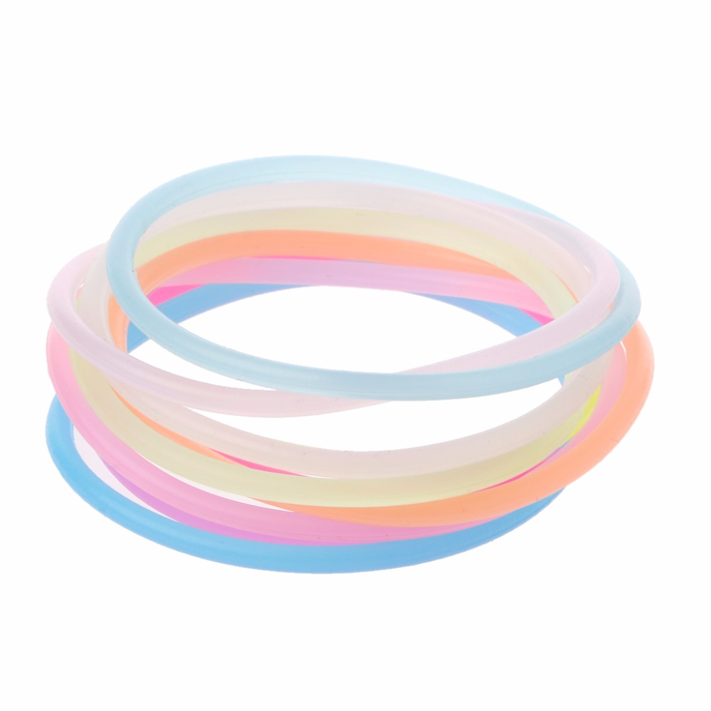 10PCS Night Luminous Bracelets Wristband Gummy Silicone DIY Rubber HairbandsFashion Jewelry